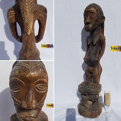 PREMIUM Tribal African Art - Batabwa Tabwa Female Figure Sculpture Statue Mask