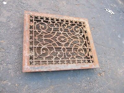 Vntg Ornate-Victorian-Cast-Iron-Register-Heat Vent  14 X 17