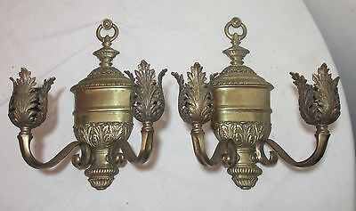 antique pair 19th century gilt bronze ornate candle holder sconce fixtures brass