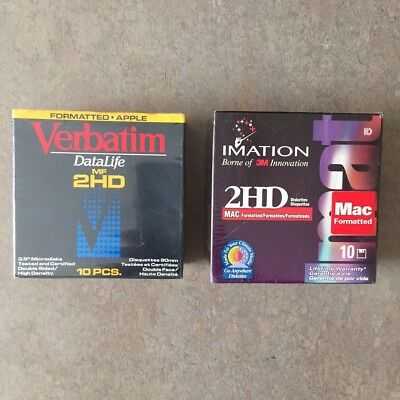 "Lot of 20 Verbatim & Imation MAC Formatted 2 HD 1.4 MB 3.5"" Diskettes NEW SEALED"