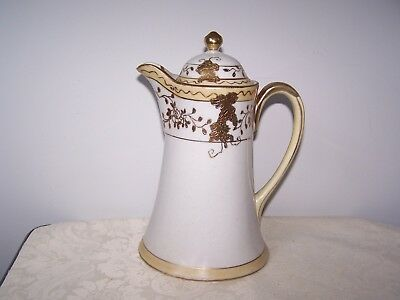 BEAUTIFUL HAND PAINTED NIPPON CHOCOLATE POT with LOTS OF GOLD TRIM