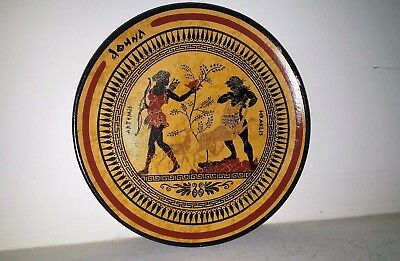Ancient Greek Ceramic Plates With Artemis and Heracles 17 cm