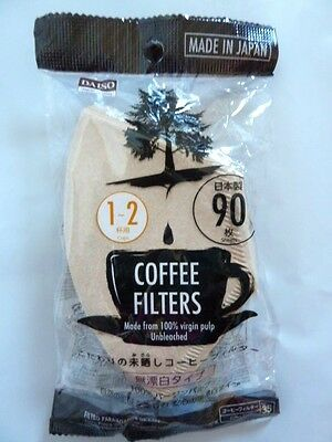 90 x Coffee Drip Filters 1-2 cups Virgin Unbleached Pulp Paper - Made in Japan