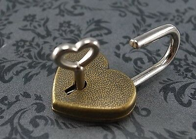 Lot of 10-Small Antique Style Mini Heart Shaped Padlock with Keys-Antique Bronze