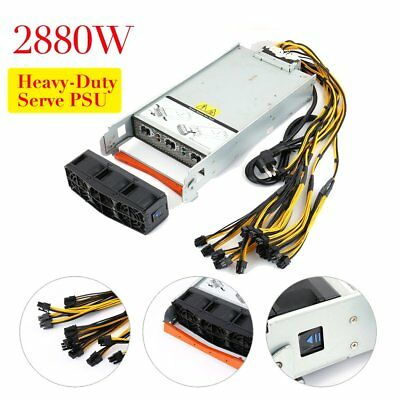 2880W PSU Power Supply Antminer S9 / S7 / L3+ 94% Efficiency Complete Kit 240V F