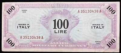 1943 Italy 100 Lire Military Currency Xf High Grade Problem Free- More Like It!!