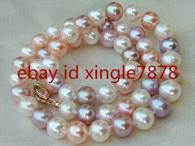 Genuine 7-8mm Natural Multicolor Freshwater Cultured Pearl Necklace 18''