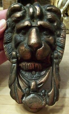 Vintage Cast Iron Door Knocker Copper Plate Lion Head Metal Nice