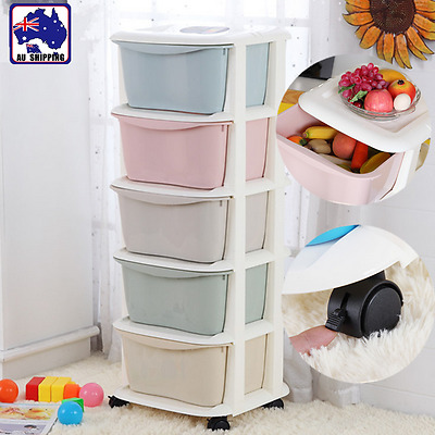 5 Tier Drawer Storage Organiser Plastic Office Box Cabinet Coloured HCOC83305