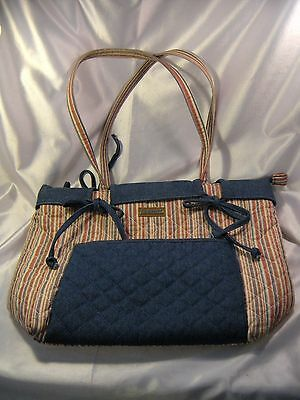 "Longaberger Homestead Tote Market Stripe & Denim, 12"" x 4.25"" x 11.25"""
