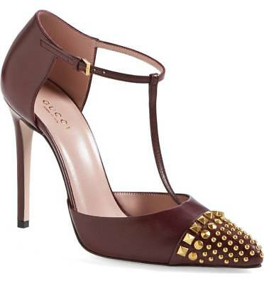 9fa26807ef9  750 GUCCI COLINE Studded T-Strap Pump Burgundy Leather Mary Jane 39 Shoe -   370.00