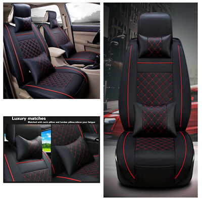 Car Front Seat Covers w/Pillows Comfortable Wearproof PU Leather for 5sits Cars