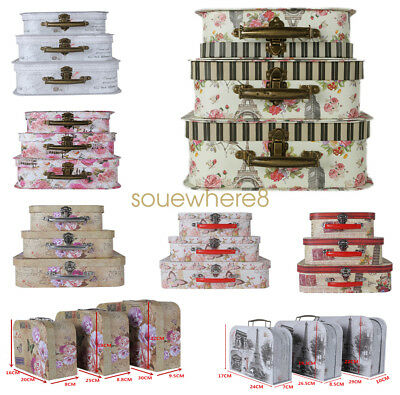 3 x Vintage Shabby Chic Floral Style Storage Xmas Gift Box Suitcase 6 Colors