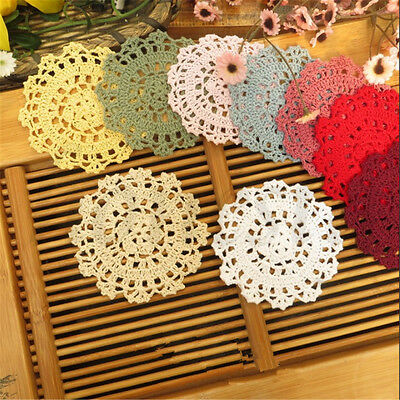 2pcs Handmade Lace Crocheted Placemat Table Mat Cotton Doily Tablecloth Round