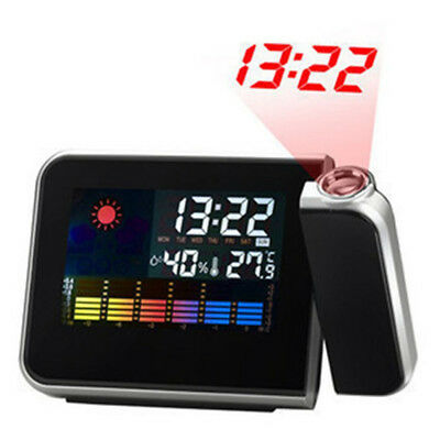 Digital LED Time Projector Weather Thermometer Snooze LCD Color Alarm Clock HSAF
