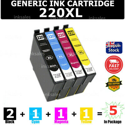 5 Ink Cartridge T220XL T2201 220XL for Epson WF2630 2650 2660 XP420 220 320 424