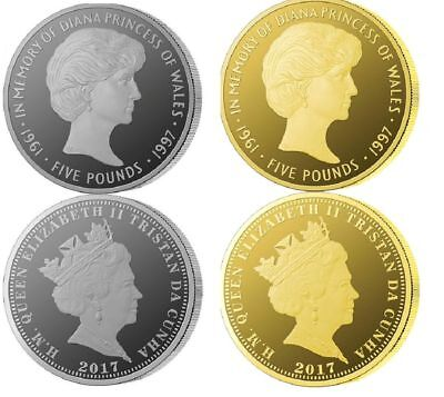 Princess Diana 2017 £5 20th Anniversary 1oz Silver Proof Coin & Gold Plated coin