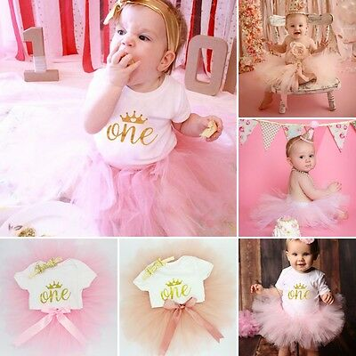 Baby Girls 1st First Birthday Outfit Cake Smash Tutu Skirt, Top & Headband Pink