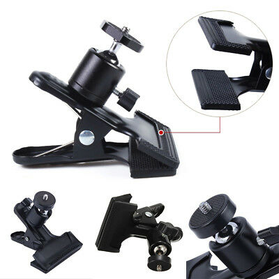 """Adjustable Metal Clip Clamp Holder Mount With Ball Head 1/4"""" Screw For Camera UK"""