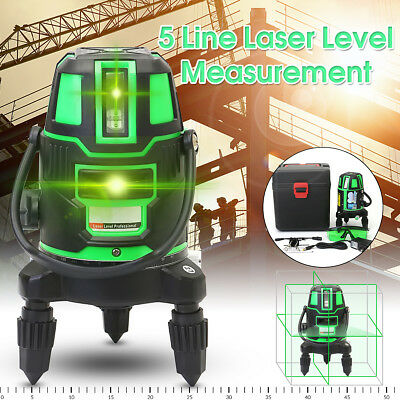 Green Beam Laser Level 5 Line Cross Self Leveling 360° Rotary Outdoor Measuring