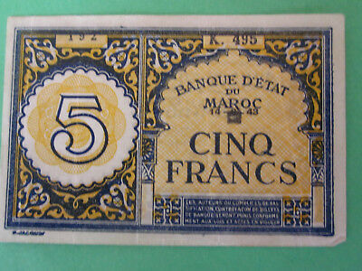 1943 Morrocco 5 francs world currency paper money