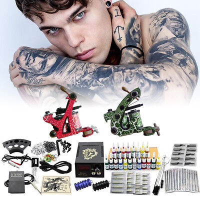 Profi Komplett Tattoomaschine Set 2 Maschine 20 Farben Tinte Nadel tattoo SALE