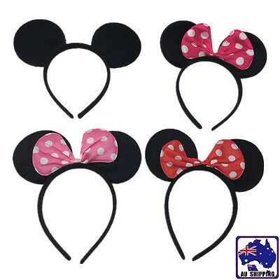 Mickey Minnie Mouse Ears Headband Bowknot Headwear Costume Fancy Dress GHCL920