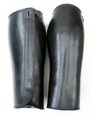 Vintage Early 20Th Century  Black Leather Gators/ Gaitors   Superb Condition