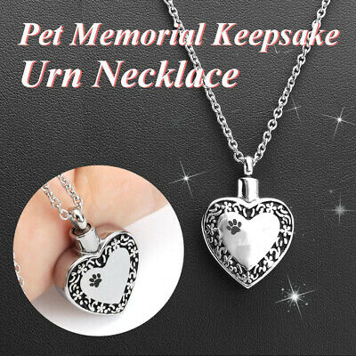 Cremation Jewelry Ashes Urn Necklace Pendant Keepsake Memorial Pet Dog Locket