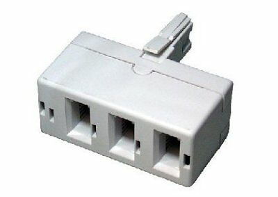 BT treble telephone Phone socket 3 way Adapter Splitter