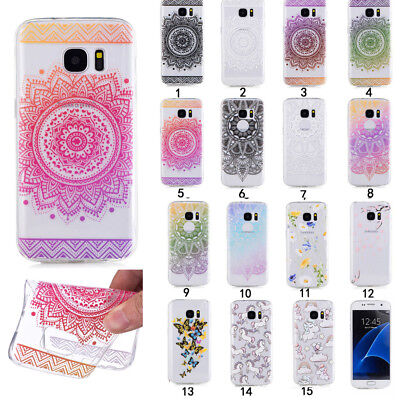Samsung Series Shockproof Rubber Painted Pattern TPU Silicone Slim Clear Case