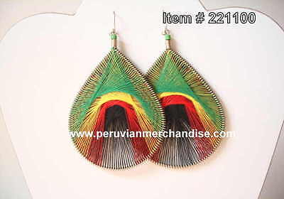Thread Earrings Assorted Style Rasta colors Large Size