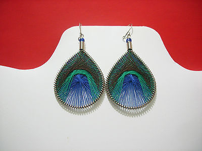 Thread Earrings Peruvian Earrings cotton thread Peacock Style Small Size # 231A