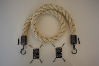 36mm Barrier Rope System Decking Rope Gun Metal Fittings Hooks & Plates 3 Meter