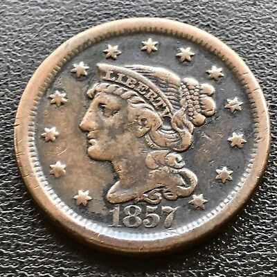 1857 Large Cent Braided Hair Large Date 1c Key Date RARE  XF - AU  #6196
