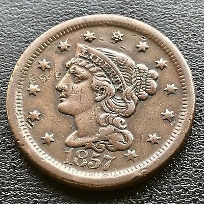 1857 Large Cent Braided Hair Large Date 1c Key Date RARE AU dmg  #6194