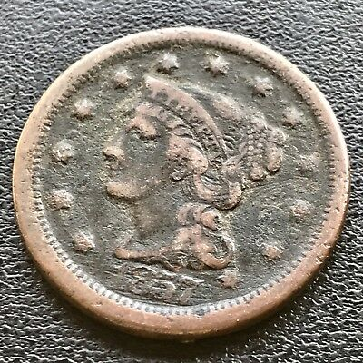 1857 Large Cent Braided Hair Large Date 1c Key Date RARE   #6195