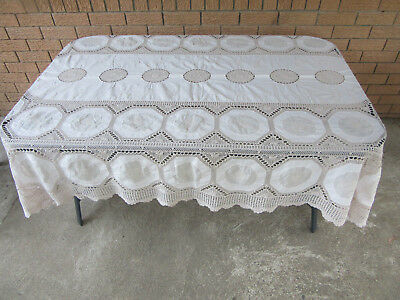 Absolutely Enormous Vintage Crochet/Embroidered/Cotton Tablecloth - 295cmx170cm