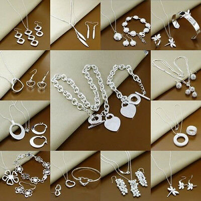 Xmas Gifts Women Jewelry 925Silver Bracelets Bangle Necklace Ring Earrings Sets
