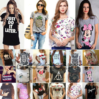 Women Ladies Graphic Tee T Shirt Summer Short Sleeve Loose Blouse Tops Plus Size