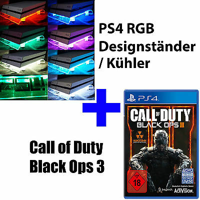 PS4 Playstation 4 paquet COD CALL OF DUTY GHOSTS noir Ops 3 + RGB Design