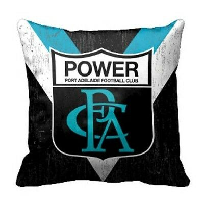Port Adelaide Power AFL Footy Retro Canvas Fabric Pillow Cushion 43 x 43cm