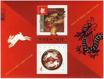 ma. RABBIT & DRAGON Chinese New Year Transitional S/S CANADA 2012 #2496a MNH