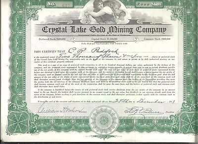 1931 Crystal Lake Gold Mining Co Preferred WA Stock Certificate 2000 Shares #627