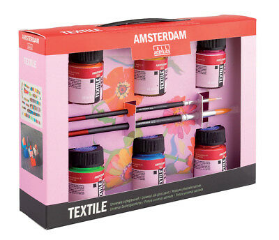 Royal Talens Amsterdam Deco Textile Fabric Paint Gift Set 6 Colours & Acessories