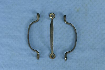 Antique SET of 3 METAL SOLID PIECE SMALL DRAWER TRAY PULL HARDWARE OLD #03494