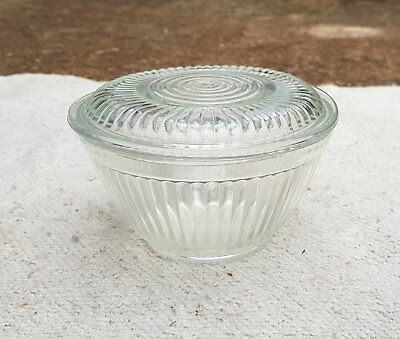 1930's VINTAGE RARE CLEAR GLASS HEAVY CARNIVAL BOWL WITH LID,JAPAN - MINT