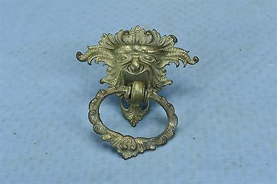 Antique VICTORIAN NORTHWIND CAST BRASS DRAWER PULL HARDWARE SINGLE POST #03469