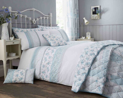 Garden Floral Duck Egg Blue Print Luxury Duvet Sets Matching Bedroom Accessories
