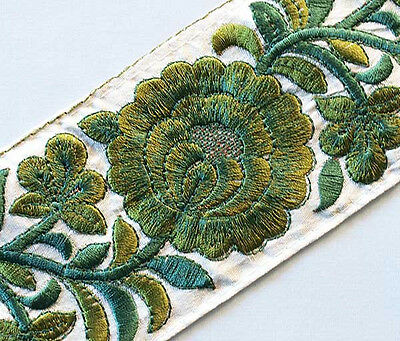 Shades of Green. Wide, Parsi Satin Stitch, Embroidered Trim. 3 Yards.